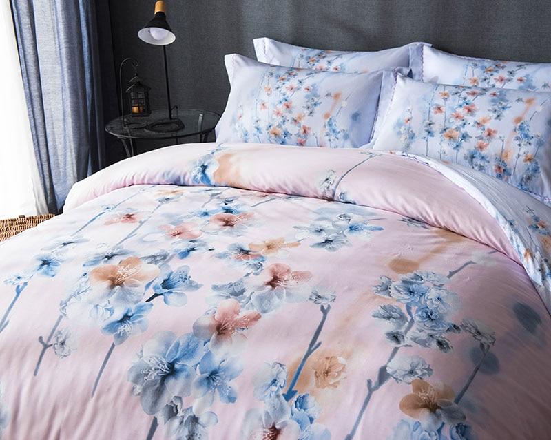 Licht Roze Dekbedovertrek : Licht roze blauw bloemen gedrukt beddengoed set volledige koningin