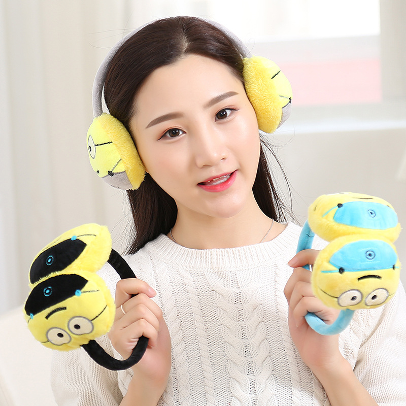 Child Small Yellow People Earmuffs Winter Plush Emoji Headband Earmuffs Fashion Emoticon Ear Warmer Adjustable Earlap For Girls