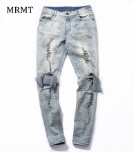 2018 new Men with other demin destroy jeans knee havoc hole in male money stretch jeans(China)