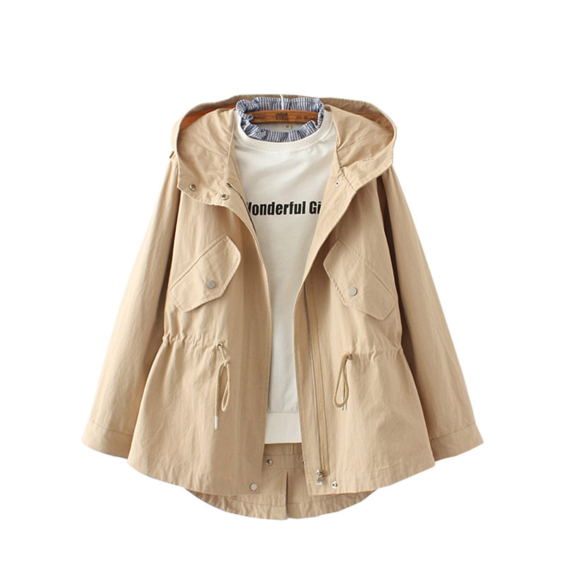 Solid Women Drawstring Hooded   Trench   Coat Casual Thin Cazadora de mujer Spring 2019 New Causal Loose Female jaqueta curta f215