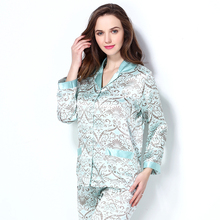 Pure Natural Silk Pajamas Sets Nightwear 2017 New Summer Women's Sleepwear Floral Geometric Print Pyjamas Set Free Shipping