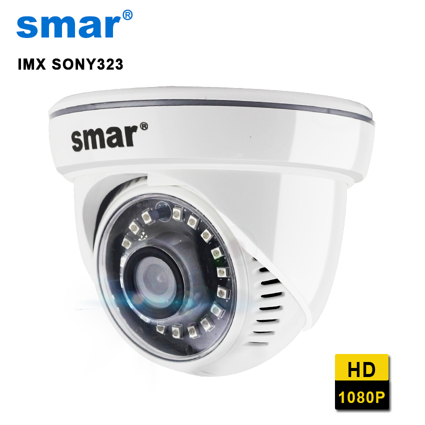 Smar VOLLE HD 1080 p Dome IP Kamera HI3516C + SONY IMX 323 Mit 18 stücke Nano IR LEDS ONVIF home Security Hohe Qualität Kunststoff Material