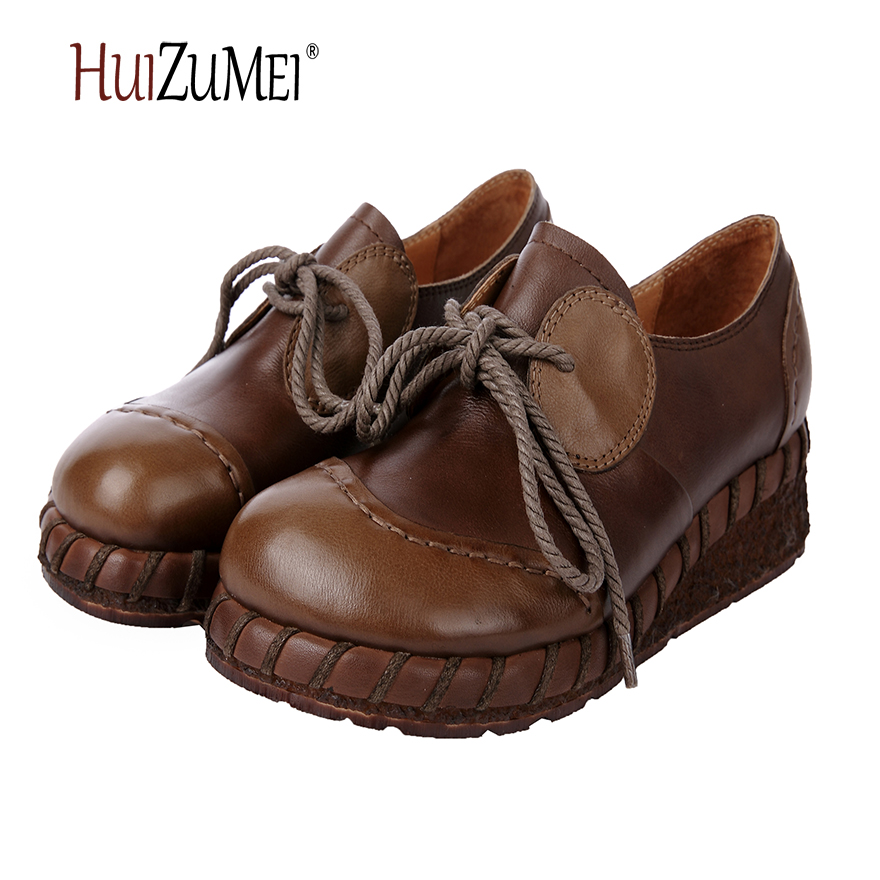 HUIZUMEI new genuine leather handmade shoes mixed color women round toe flat casual retro nude shoes huizumei new genuine leather women s