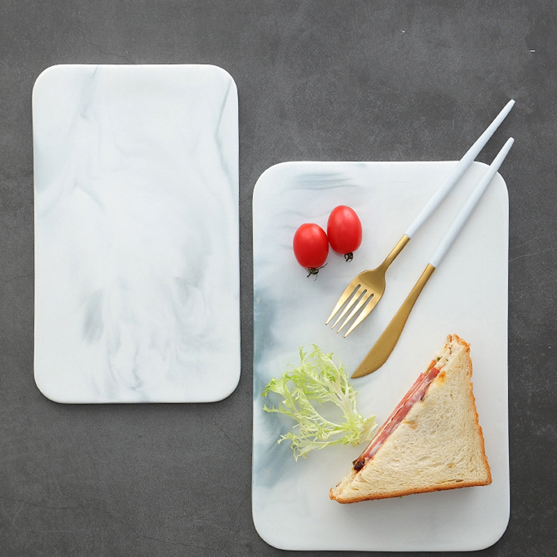 Marble Cutting Board Cheese Crackers Sushi Serving Board Ceramic Rectangular Plate Storage Tray Food Container Crockery 10 inch 1