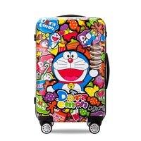 Doraemon багажные Тележки Коробка мужской Женский Мальчиков Cantoon Сапоги Кошки Багажа Козыри Кошка Чемодан 20 24 дюймов