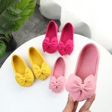 Модная Милая обувь для девочек; обувь из искусственной кожи с бантом для девочек; вечерние балетки принцессы на плоской подошве; свадебные туфли для девочек