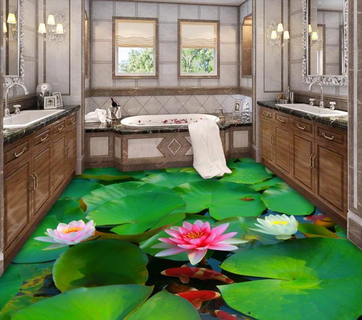 3D Flooring Bathroom Custom Green 3d Floor Lotus Pond Carp