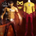 La temporada 3 Wally West Niños Flash Flash cosplay superhero disfraces de Halloween para hombres adultos traje de Flash por encargo