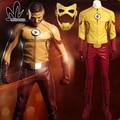 La temporada 3 Wally West Niños Flash Flash cosplay superhero disfraces de Halloween para hombres adultos traje de Flash por encargo