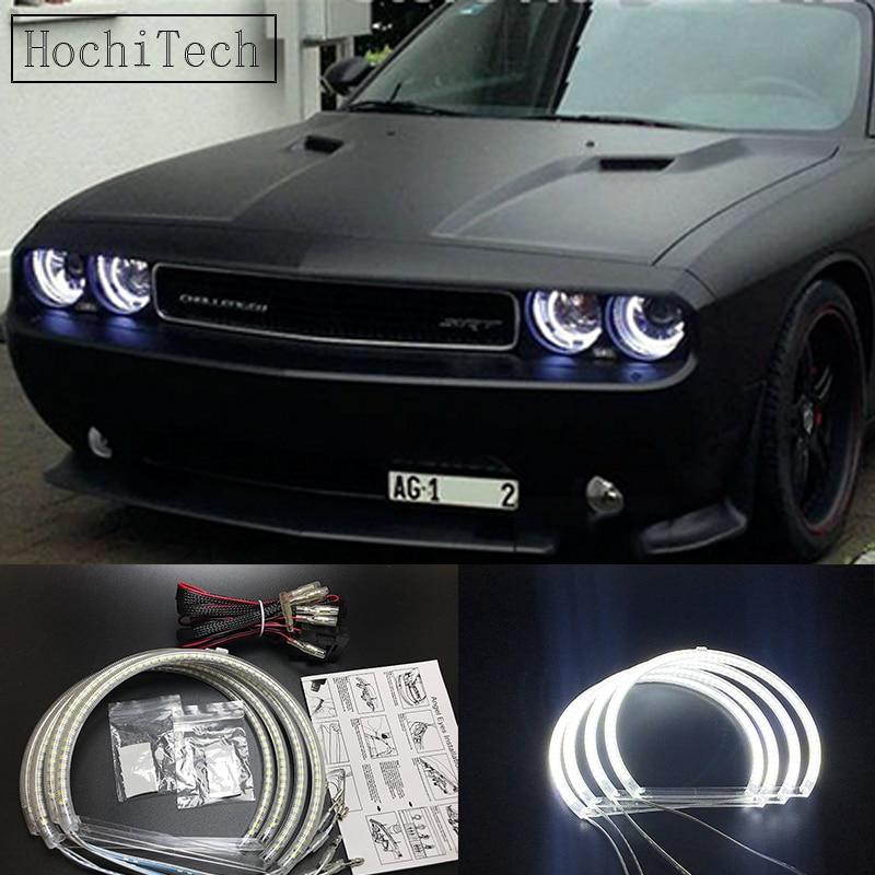 HochiTech Ultra bright SMD white LED angel eyes 2500LM halo ring kit daytime running light DRL for Dodge challenger 2008-2014 цена