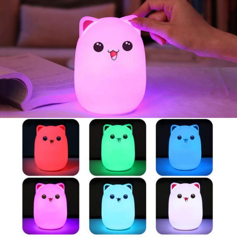 Neue Stil Kaninchen Led Nachtlicht Für Kinder Kinder Baby Nacht Lampe Multicolor Touch Silikon Wasserhahn Control Sensor Nachtlicht