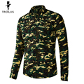 Troilus Men Camo Shirt Fall Cotton Camouflage Long Sleeve Shirt Fashion Army Green Camouflage Casual Camo Slim Fit Cargo Shirts