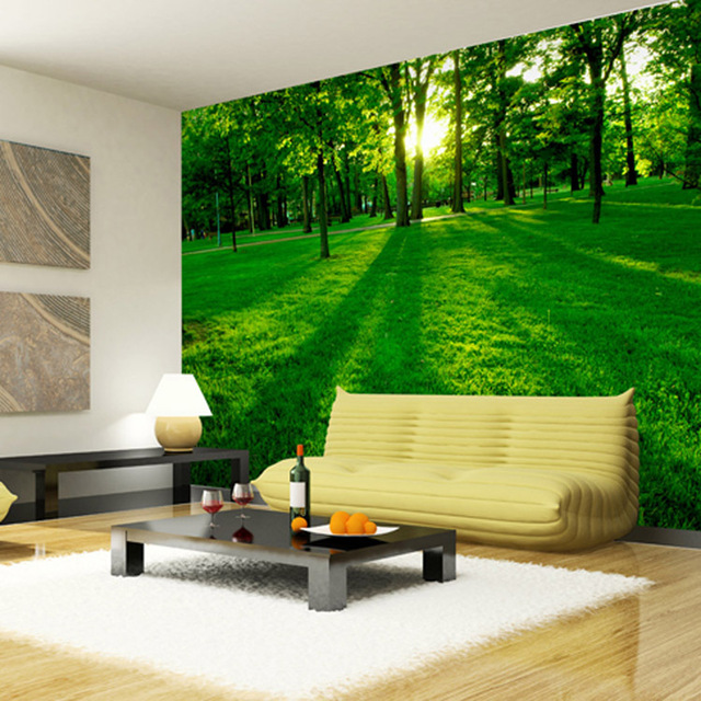 Forest Wood Landscape Trees Wallpaper Nature Photo wallpaper Wall Mural 3D  Wall art Room decor Ceiling. Forest Wood Landscape Trees Wallpaper Nature Photo wallpaper Wall