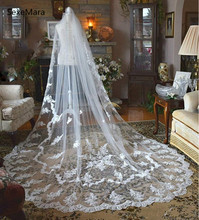 New White/Ivory Customized Wedding Veils One Tier Lace Applique Bridal Veil Accessories Wedding Veil With Comb