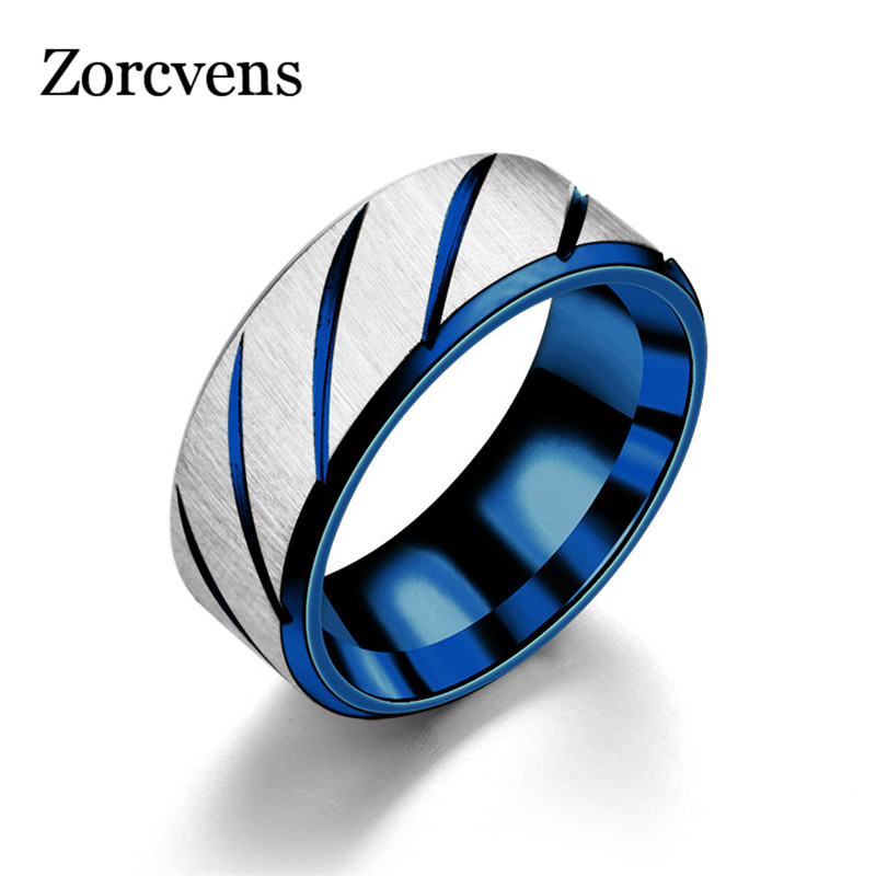 ZORCVENS 8mm Blue Fashion Lover's Wedding Rings 3 Colors Rings Stainless Steel Couple Engagement Rings for Woman