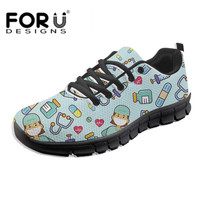 FORUDESIGNS Mesh Student Breathable Lace Up Women Shoes Lightweight Woman Cute Cartoon Nurse Doctor Vulcanized Sneakers Footwear