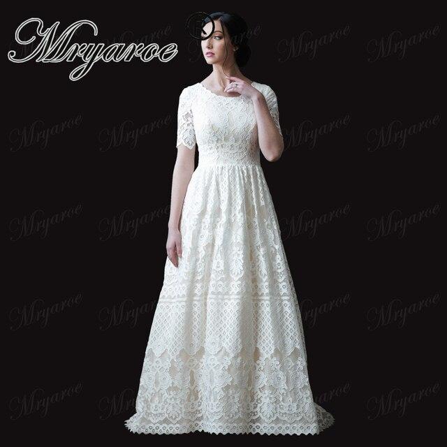 Mryarce Modest Wedding Dress With Short Sleeves Elegant Lace A Line Bridal  Gowns robe de soiree 7fc118022e26