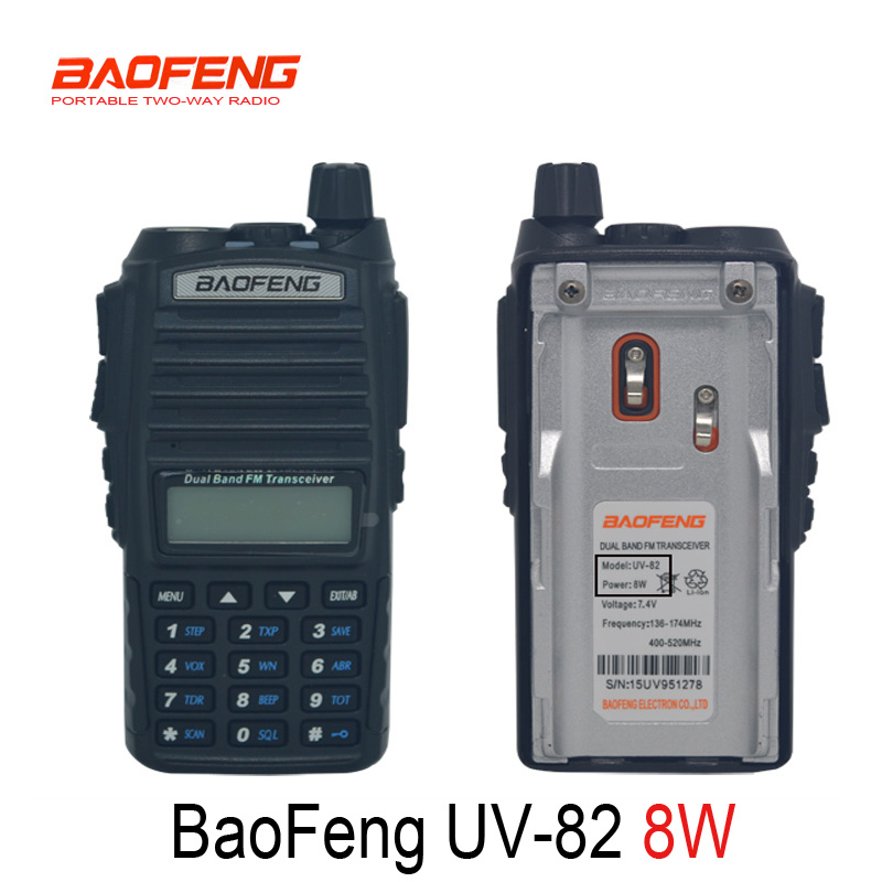 Baofeng UV-82 8W Transceiver walkie talkie UV 82 Radio Vhf Uhf Dual band Two-way Portable Radio UV82 or UV-5R 8W up 10km