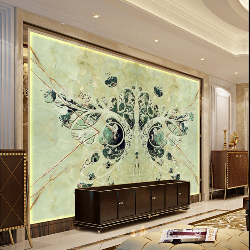 Custom 3d mural wallpaper Dark green 3D Butterfly TV backdrop ...