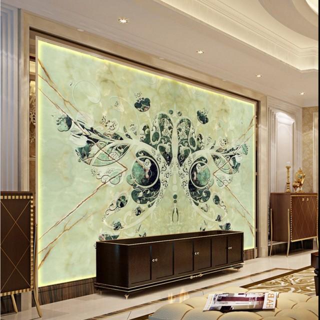 Personnalisé 3d Murale Papier Peint Vert Foncé 3d Papillon Tv Toile
