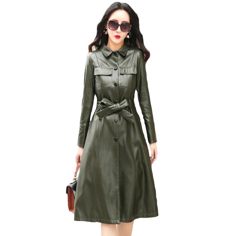 rouge Faux 2018 Nouveau Green Survêtement Femme Hiver Cuir Femmes Automne Pu Avec Lavé Veste Trench Long Ceinture Noir Dames army qHwnCB5