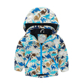 2017 autumn and winter style baby boy coat and jacket long sleeve jackets hooded warm outwear zipper  drago pet printed jackets