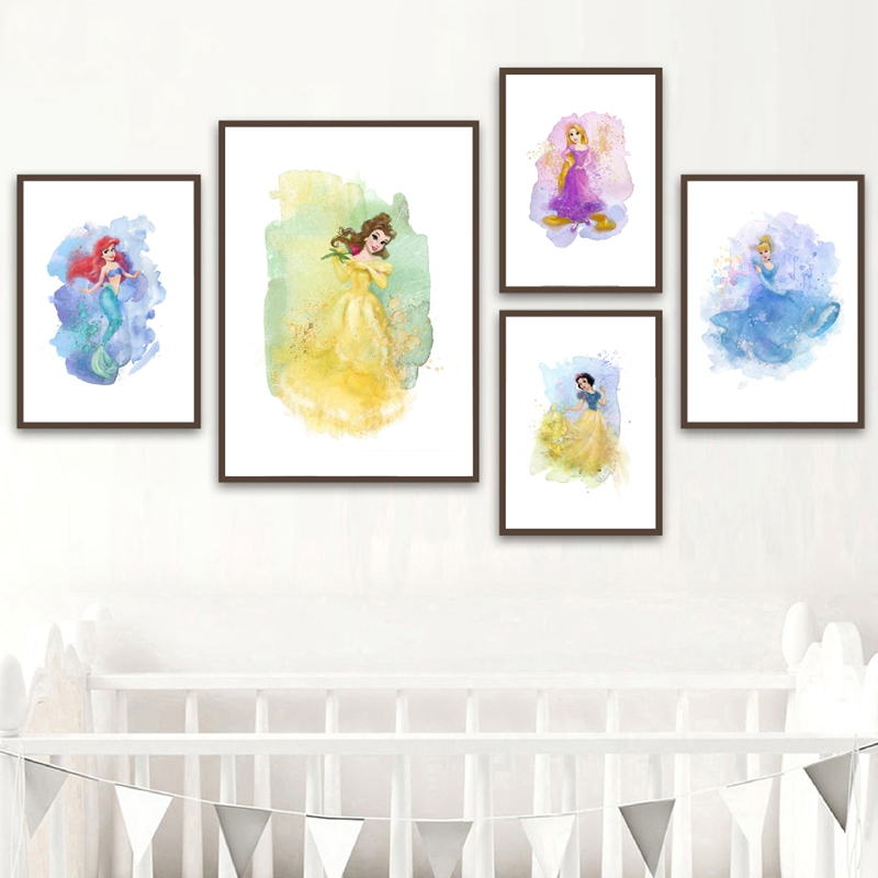 Princess Wall Art Prints , Rapunzel Elsa Belle Tiana Merida Pokahontas Posters Princess Canvas Painting Girl's Room Decor
