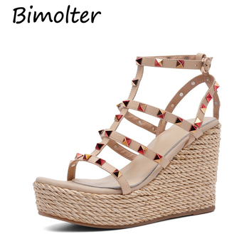 Bimolter Platform sandals High Wedges Heels Back Strap Shoes Fashion Rivets Genuine Leather Sandals Sweet Prom Shoes FC078