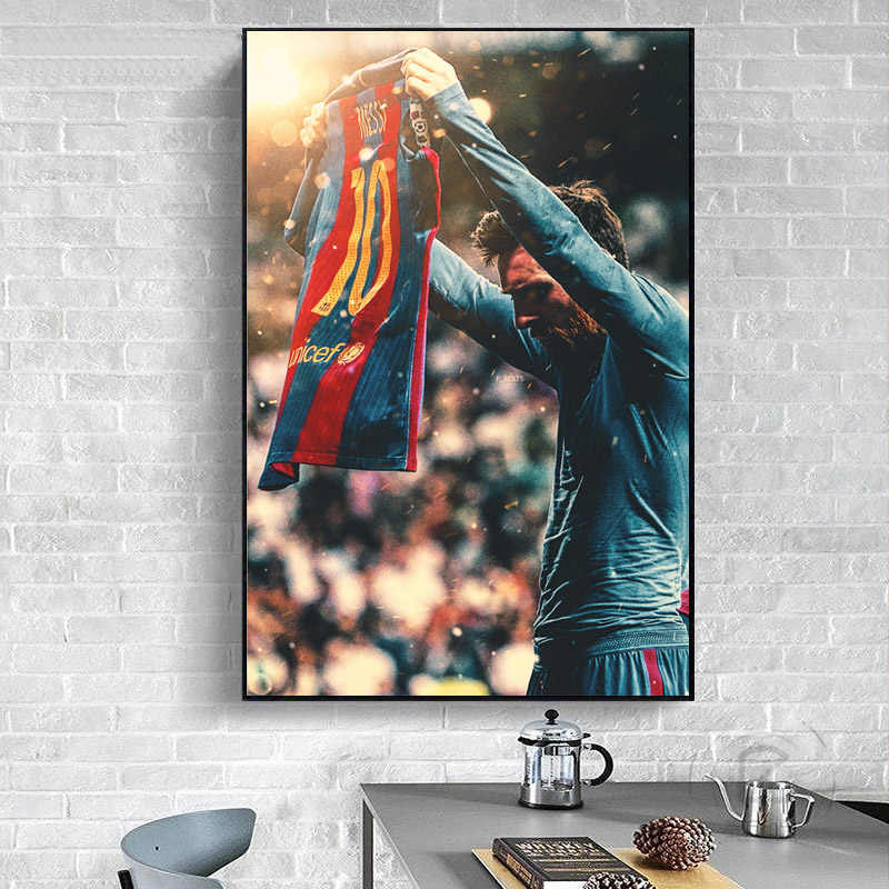 Famous Football Star Rio Messi Figure Poster Canvas Paintings Sports Posters Wall Art Prints for Living Room Home Decoration