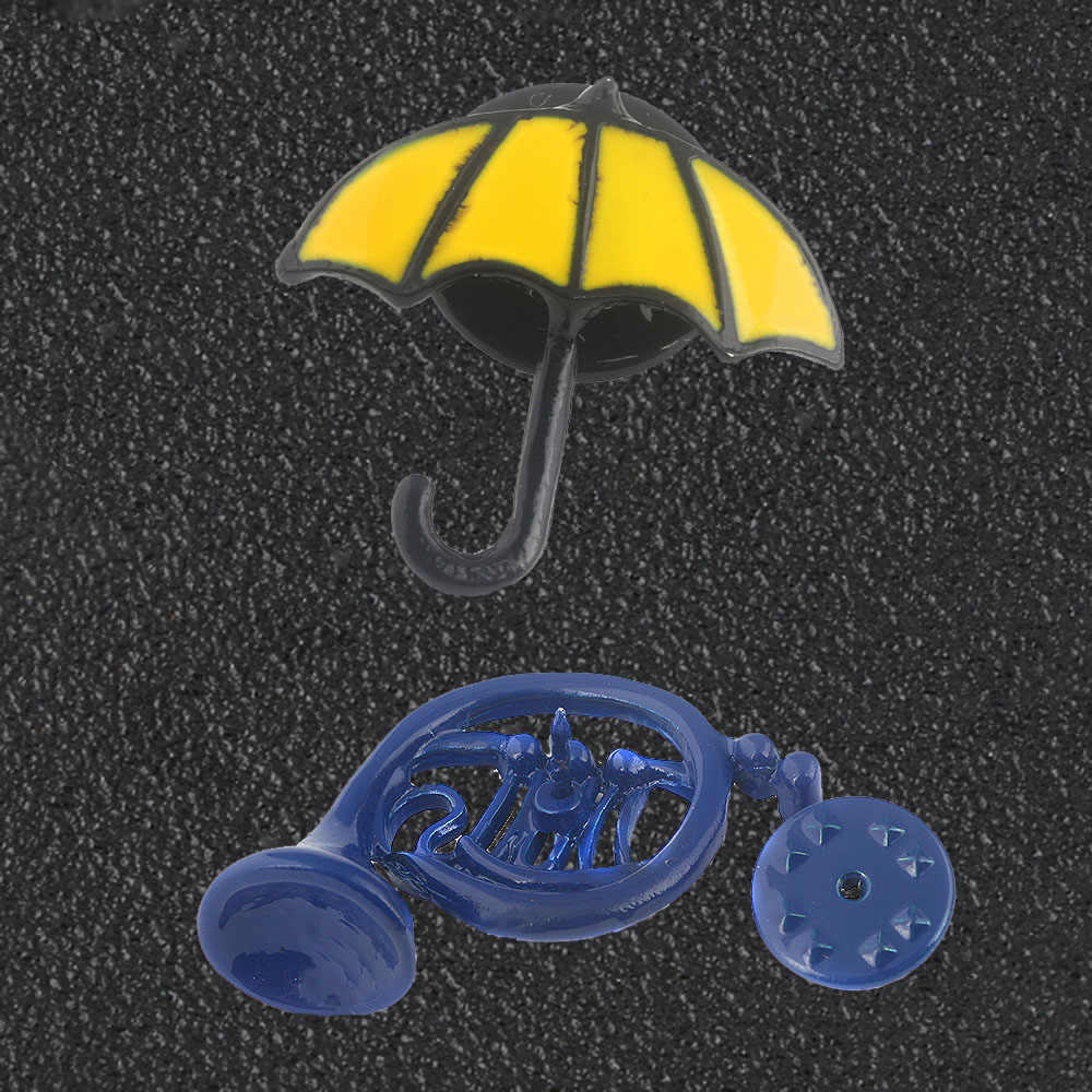 SG New HIMYM How I Met Your Mother Brooches Alice In Wonderland Blue French Horn Yellow Umbrella Pin Broche Women Men Jewelry