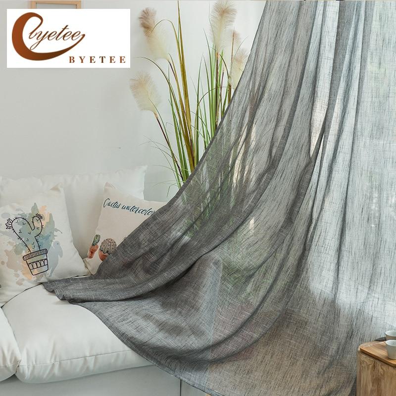 [Byetee] Moderne Coton Lin Tissu Dépistage Tulle Cuisine Rideaux Pour Salon Chambre Personnalisée Gaze Rideau Rideaux