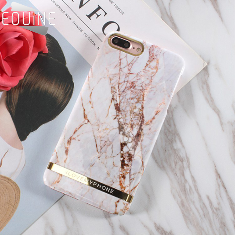 for iPhone X 7 8 6 6S Plus Case Glossy Marble Phone Case Fashion Chic Gold Bar Back Cover Hard PC Cases Fundas Coque