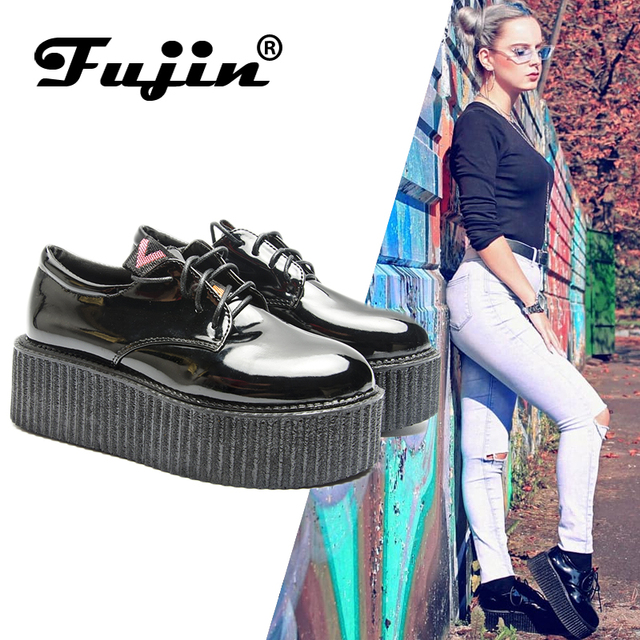 Fujin/Женская обувь на толстой подошве; модная весенняя женская обувь на плоской платформе со шнуровкой; женская обувь с закрытым носком