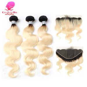 QUEEN 14 16 18 20 22 24 26 28 30 Inch Remy 1B/613 Ombre Blonde Brazilian Body Wave Human Hair 3/4 Bundle with Lace Frontal 13x4
