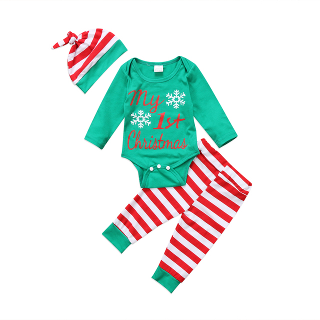 ca4e0a4a2 3PCS My First Christmas Baby Clothes Newborn Xmas Baby Boys Girls Outfits Clothes  Set Romper Striped Pants Leggings Hat