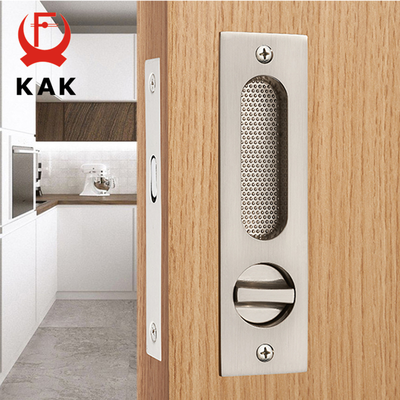 KAK Mute Mortice Sliding Door Lock Hidde Handle Interior Door Pull Lock Modern Anti-theft Room Wood Door Lock Furniture Hardware