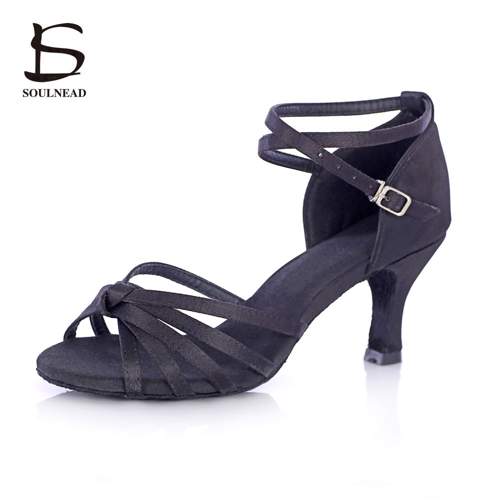 Ladies Black Latin Dance Shoes Female 5/7cm High-heeled Soft Indoor Dance Shoes Ballroom Tango Salsa Dancing Shoes For Women L09