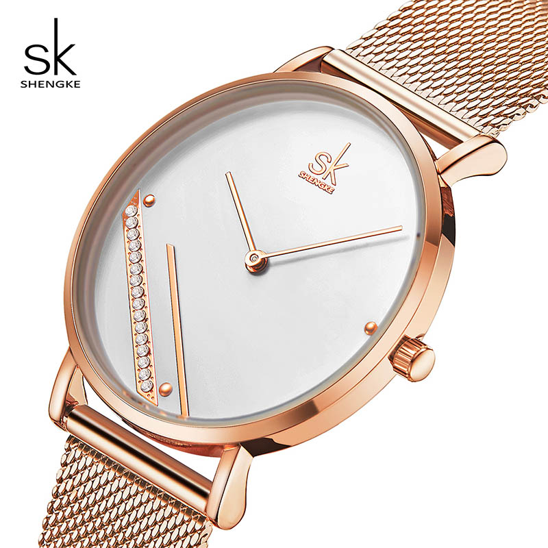 Shengke Creative Women Rhinestone Watches Top Brand Luxury Quartz Watch Femme Wrist Watch Reloj Mujer SK Watch Dames Horloges