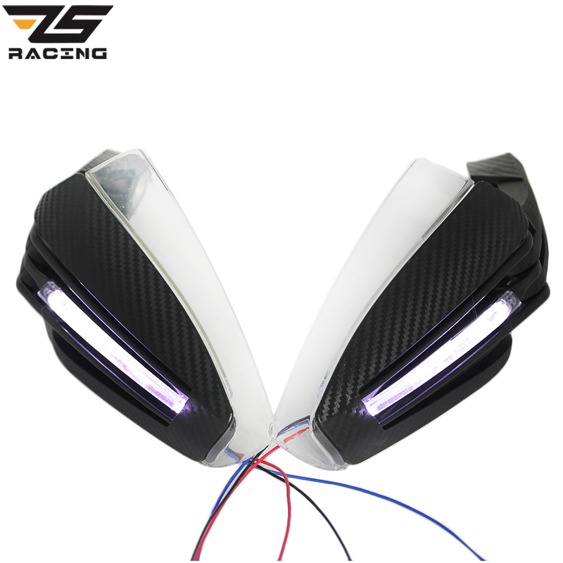ZS Racing 6 Color Handguards Motorcycle Hand Guards With Led Turn Singnal Lights For Scooter Pit