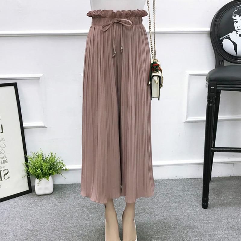 2019 Summer High Waist Lace Up Waist Pleated Pants Women Loose Wide Leg Chiffon Pants Lady Lace Up Waist Ankle Length Pants 36
