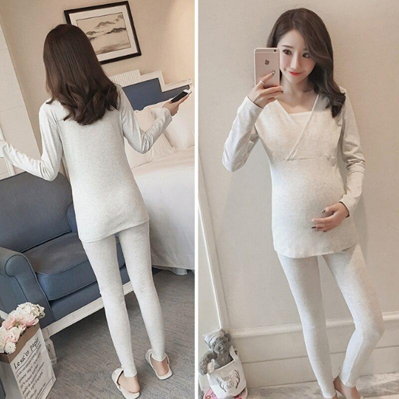 Cotton Maternity Pajamas Pregnant Women Sleepwear Clothes Breastfeeding Nightgown Pregnancy Nursing Feeding Clothing Suit Winter