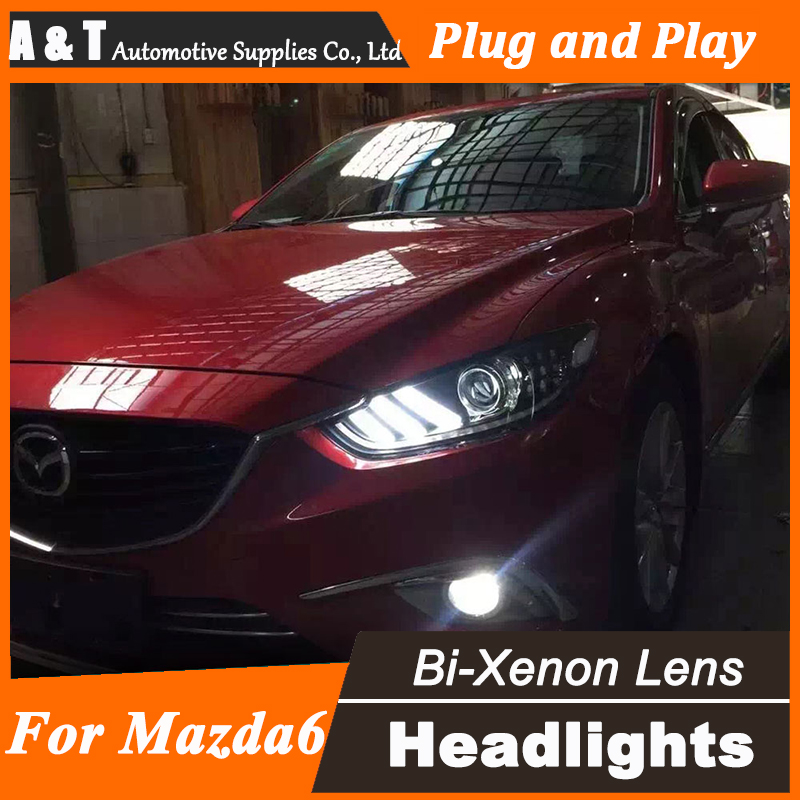 Car Styling for 2014 New Mazda 6 LED Headlight assembly Mazda6 Headlights Lens Double Beam H7 with hid kit 2 pcs. автоинструменты new design autocom cdp 2014 2 3in1 led ds150