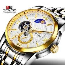 Tevise marque hommes montre mécanique mode luxe montres automatiques Phase de lune loisirs or montre-bracelet horloge Relogio masculino