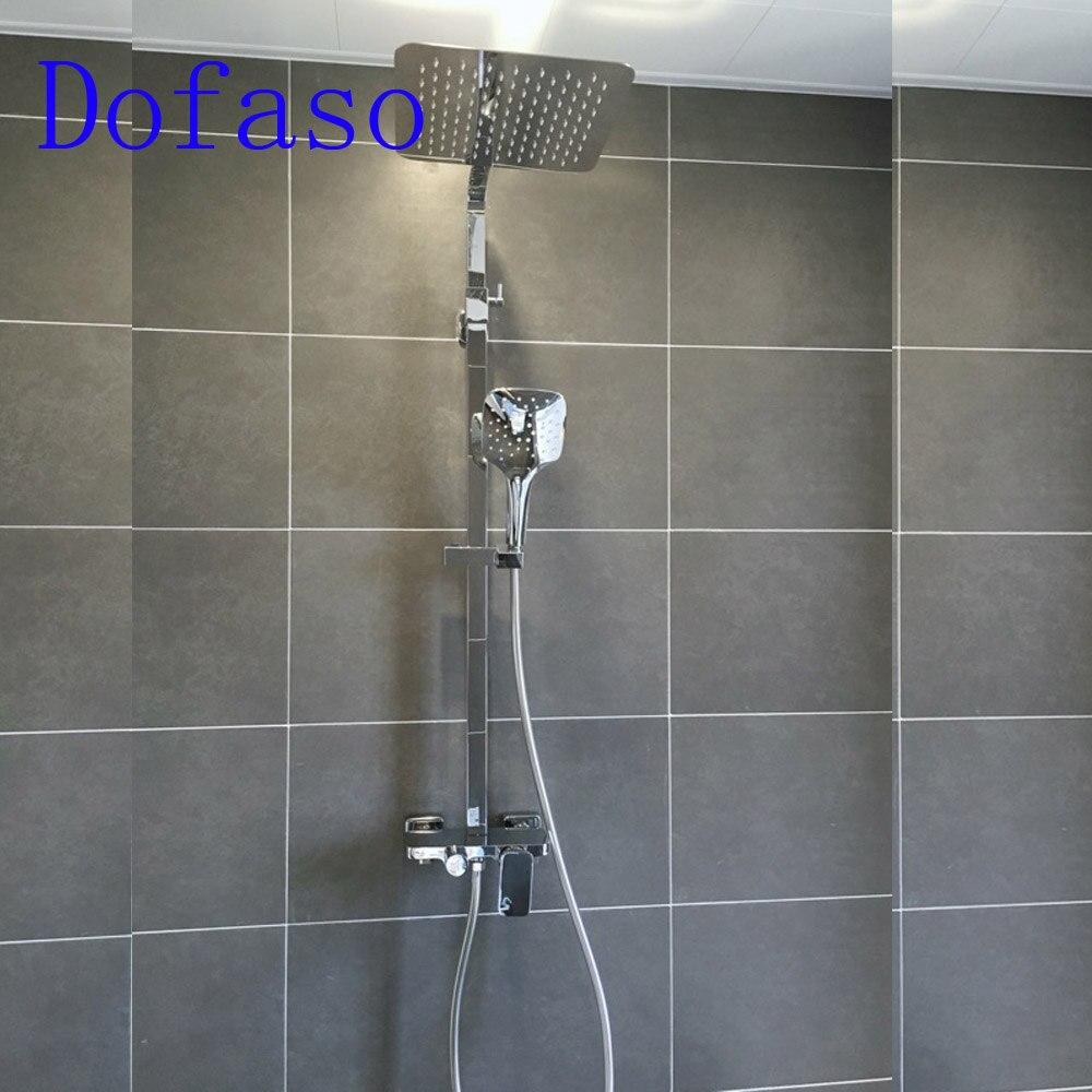 Dofaso tout cuivre 10 pouces pluie douche chrome meilleur kit de douche de bain avec surface miroir ensemble de robinet de douche de luxe