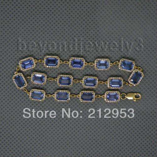 Vintage Emerald Cut 4x6mm 14Kt Yellow Gold  Sapphire Bracelet NA0022