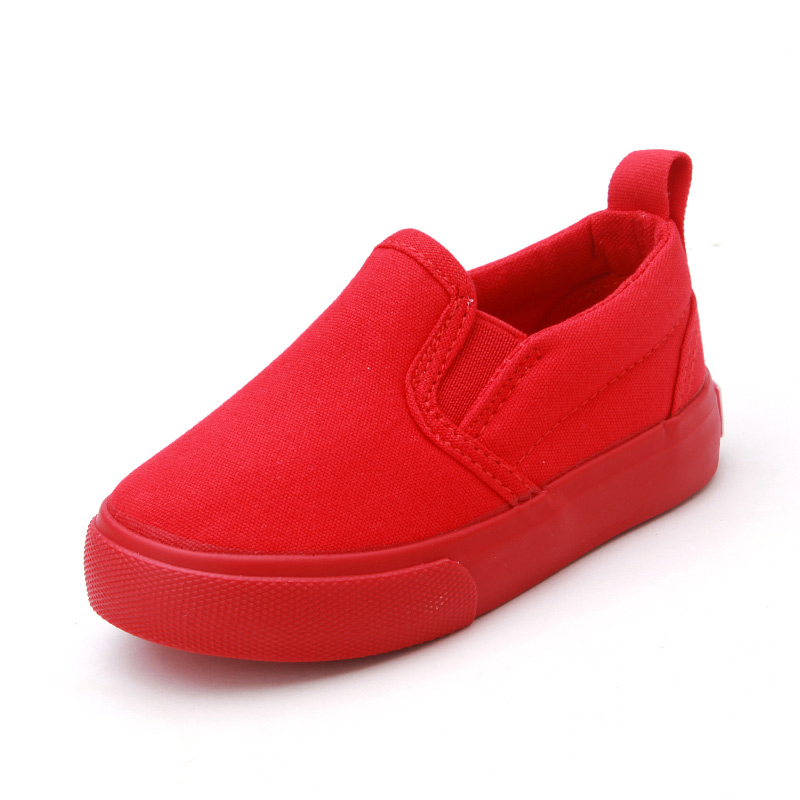 New Solid Color Children Canvas Shoes Unisex Boys Girls Casual Sneakers Slip On Kids Flat Shoes Sport White Black Red Blue