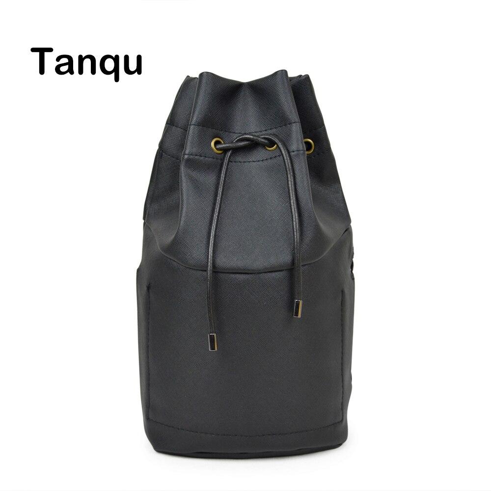 Tanqu New Pure Color Drawstring PU leather Inner Pocket Lining for Obasket Obag Handbag Insert for O Basket O Bag