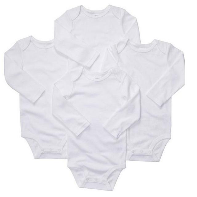 Branco Original 4 pcs de 1 conjunto Bebê Oshkosh Meninos Bodysuit, Estilo clássico Pure White Bebê Long & Short Bodysuit Manga