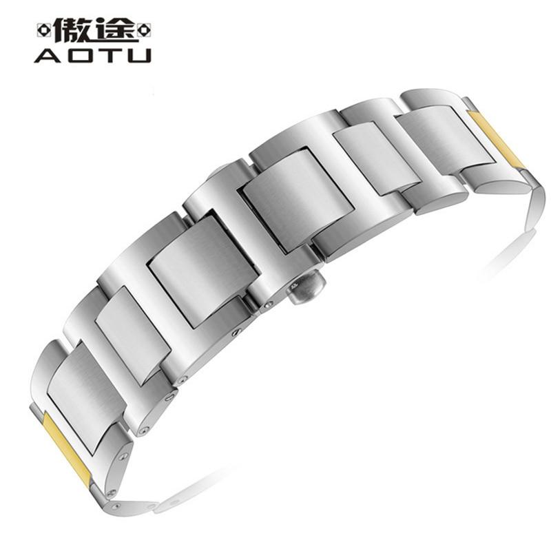Stainless Steel Watchbands For CARTIER BALLON BLEU DE CARTIER Ladies Watch Bracelet Belt Men Watch Straps Metal Women Watchband