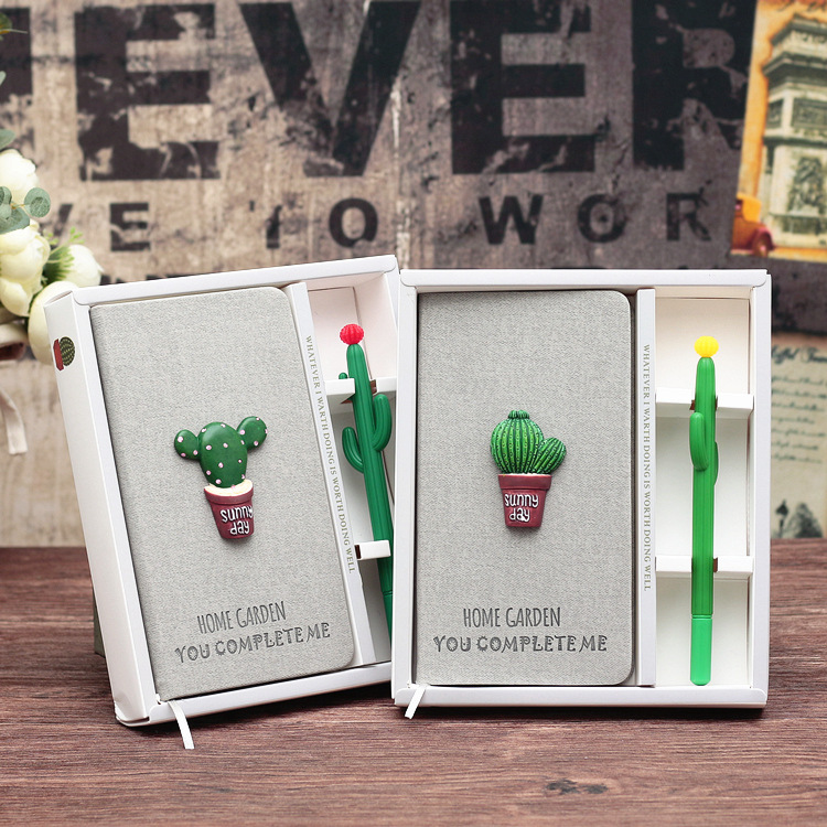 Grey Cactus Stationery Gift Pack Notebook Pen Diary Box Girlfriend Gift Cute Kawaii Freenote Study Memo cactus cute cactus brooch